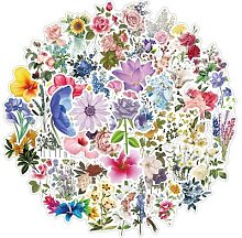 Autocollants fleur plante Vintage, 50 pièces,
