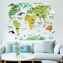 Autocollants muraux de la carte du monde Animal,