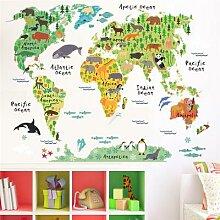 Autocollants muraux de la carte du monde, dessin