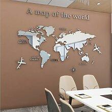 Autocollants muraux en acrylique carte du monde