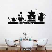 Autocollants muraux en vinyle pour café et thé,