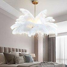 Autruche Plume Lumière De Plafond,3 Lumière