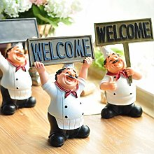 avec signe de bienvenue mignon Chef Figurine