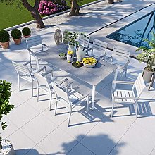 Avril Paris Table de Jardin Aluminium Blanc Bois