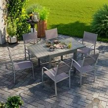 Avril Paris Table de jardin extensible aluminium