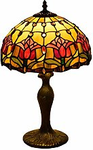 AWCVB Tiffany Style Table Lampe De Tulip Rouge