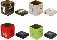 AYRSJCL 4pcs / Set Tea Caddy carrée en métal