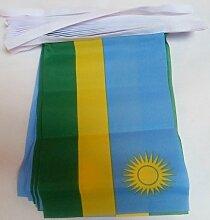 AZ FLAG Guirlande 6 mètres 20 Drapeaux Rwanda