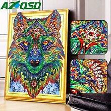AZQSD – peinture diamant loup en forme spéciale