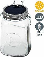 B.k.licht - Lanterne LED solaire bocal verre