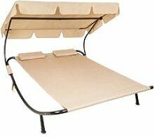 Bain de soleil chaise longue transat 2 places avec