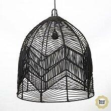 BALA L-Suspension Rotin Ø50cm Noir Bazar Bizar