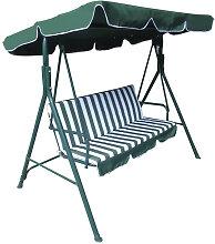 Balancelle de jardin avec parasol vert et blanc
