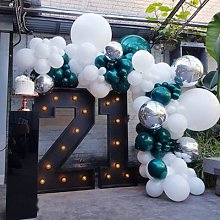 Ballons Double en arc bleu sarcelle, 103 pièces,