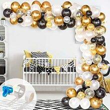 Ballons en arc noir blanc or, 123 pièces,