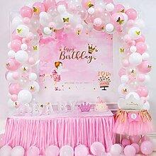 Ballons papillon en arc rose blanc or, 100