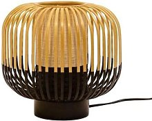 BAMBOO-Lampe à poser Bambou/Noir H24cm Noir