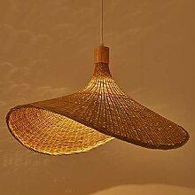 Bambou Tissage Pendentif Lumière Abat-Jour En