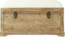 Banc avec coffre de rangement en sapin et coton