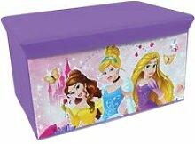 Banc & coffre à jouets en tissu pliable princesse