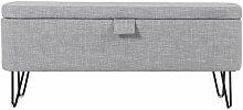 Banc & Coffre De Rangement bout Lit 101cm Gris -