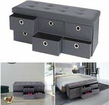 Banc coffre rangement gris 6 tiroirs 100x38x38 cm