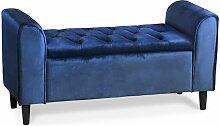 Banc coffre Winnie Velours Bleu - Bleu