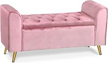 Banc coffre Winnie Velours Rose Pieds Or - Rose