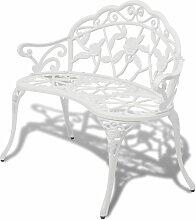 Banc de jardin 100 cm Aluminium coule Blanc -