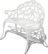 Banc de jardin 100 cm Aluminium coule Blanc