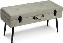 Banc de lit avec rangements velours gris clair