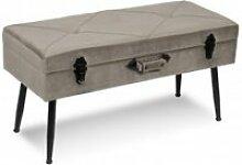 Banc de lit avec rangements velours taupe stool