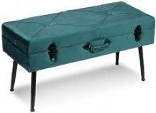 Banc de lit avec rangements velours vert stool