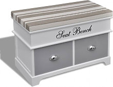 Banc de rangement avec 2 tiroirs, coussin inclus