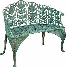 Banc de style Art Nouveau en font finition verte