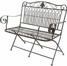Banc fauteuil de jardin pliable en fer 110 cm