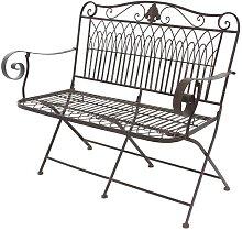 Banc fauteuil de jardin pliable en fer 93x110