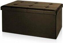 Banc pliable Coffre avec rangement 80x40x40cm brun