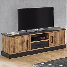 Banc TV 140 cm couleur bois foncé OSWALD