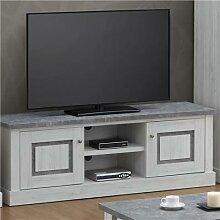 Banc TV 155 cm couleur chêne clair et gris PETUNIA