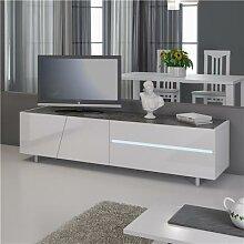 Banc TV avec led design laqué blanc LAUREA avec