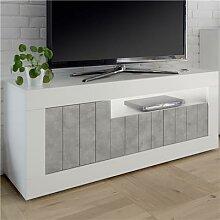 Banc TV blanc et gris couleur béton moderne
