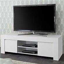 Banc TV design blanc laqué AGATHE