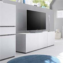 Banc TV design blanc mat 3 portes VALERONA 2