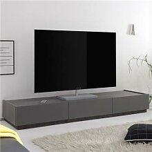 Banc TV design gris 3 tiroirs VALERONA