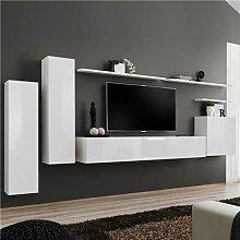 Banc TV mural blanc laqué ANDRIA 3