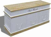 Banquette banc coffre de rangement 100 cm blanc -