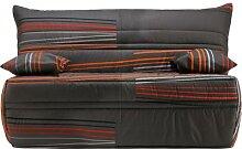 Banquette BZ tissu gris à motifs matelas 140x190