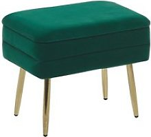 Banquette design en velours vert foncé avec