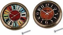Baoblaze 2 Pcs Poignée De Porte Vintage Horloge